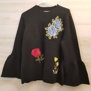 {L}Artisan Crafted Embroidered Bell Sleeve Sweater